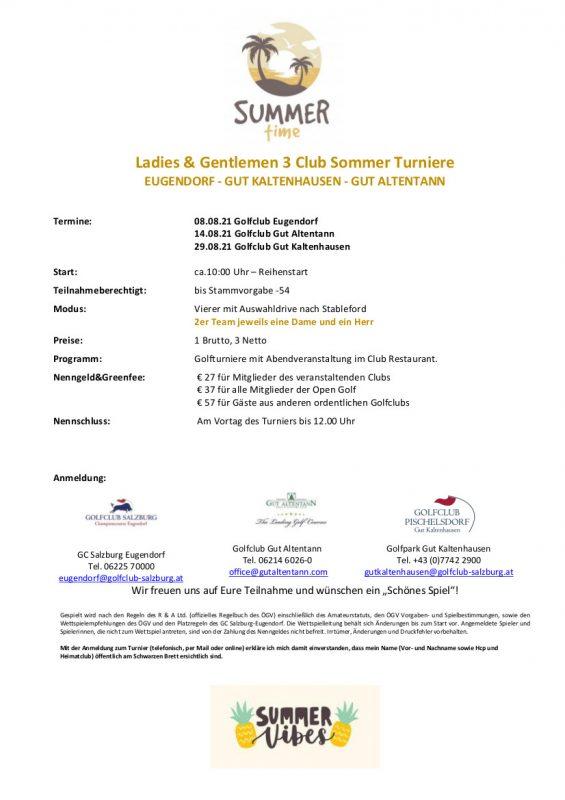Ladies&Gentleman 3 Club Sommer Turniere ALT-EUG-KH 2021. NEUE TERMINE